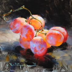 Red Grapes by Elena Katsyura Oil ~ 6 in x 6 in
