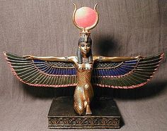"""""""Isis had a very powerful cult following, and she assimilated the traits and followers of several lesser goddesses, including Hathor, Mut, Selket, and Sekhmet. Indeed, after the assimilation of Hathor, Isis is then depicted wearing the cow-horns-and-sun-disc headpiece usually associated with Hathor."""""""