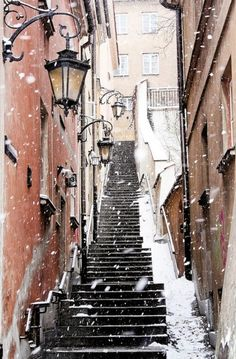 Snow falling on steps, Warsaw, Poland