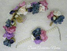 Conjunto de tocado, corsage y boutonier  https://www.facebook.com/AccesoriosDuamNovias/