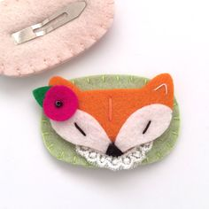Fox Hair Clip for Little Girl, Baby and Toddler, Felt Snap Clip, Girl Hair…