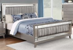 Faux Leather Mirrored Bed