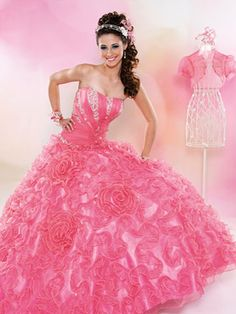 Pink Quinceanera Dresses - Light Pink Dress with Rosette Skirt