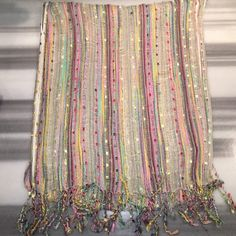 Multicolor metallic scarf Beautiful colors! Ivory, gold, pink, yellow, purple, blue and sooooo many more! Offers welcomed  Accessories Scarves & Wraps