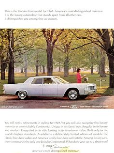 1965 Lincoln Continental - America\'s most distinguished motorcar - Original Ad