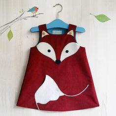 Kleider - Bio Kleid mit Fuchs aus Cord - ein Designerstück von Tell-Me bei DaWanda