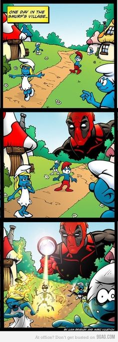 smurfs and deadpool for alice