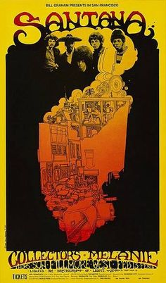 In 1969 Santana, The Collectors and Melanie began four nights of their music making at the Fillmore West right in the center of San Francisco. This is BG Fillmore poster number #160 in the series which was printed only one time.