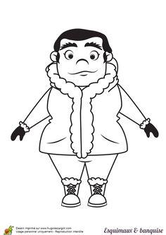 Un charmant petit inuit assis sur le sol colorier - Dessin banquise ...
