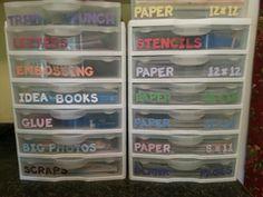 Organization scrapbook room