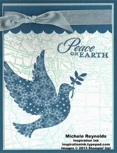 Handmade Christmas card using Stampin' Up! Calm Christmas and World Map Sets.