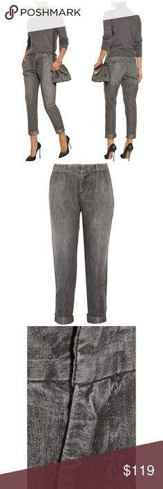 Rag & Bone Aberdeen Metallic Silver Chambray Pants rag & bone anthracite Aberdeen pants; Metallic cotton-blend;  Two front slit pockets; two back welt pockets; Concealed hook and zip fastening at front; 83% cotton, 11% polyester, 6% polyester.  Fits true to size. Dropped crotch style, designed for a relaxed fit Mid-weight, non-stretchy fabric.                                  Condition: New with tags. rag & bone Pants Trousers