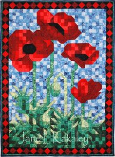 Quilt Pattern - PDF - Poppy Mosaic Art Quilt Pattern