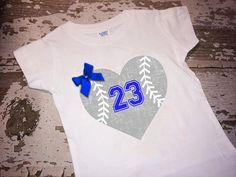 Personalized Ball Heart with Player Number with Bow