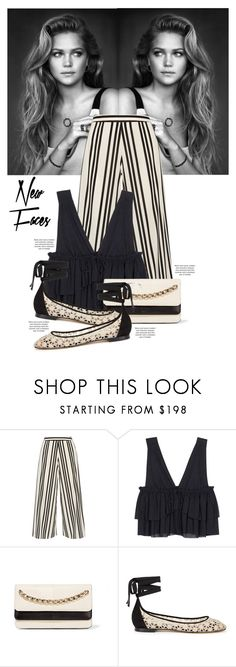 """""""Always believe that something wonderful is about to happen."""" by aanchal-w ❤ liked on Polyvore featuring Alice + Olivia, See by Chloé, Valentino, Tabitha Simmons, Topshop, stripes, cream and polyvoreeditorial"""