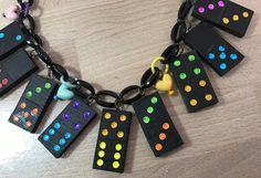 Vintage multicolor wood domino and early plastic hearts necklace-  bakelite style by ThePlasticFever on Etsy https://www.etsy.com/listing/509636204/vintage-multicolor-wood-domino-and-early