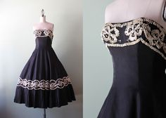 50s strapless party dress / vintage 1950s black and by HolliePoint, $136.00