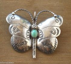 Signed Vintage NAVAJO Hand Stamped Sterling Silver & TURQUOISE BUTTERFLY Pin/Brooch