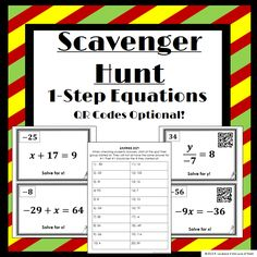 Solving 1-Step Equations Scavenger Hunt: Fun activity for students to work together to complete