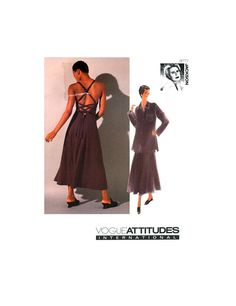 Vogue Attitudes 1353 Betty Jackson Fitted and Flared Dress with Loose Fitting Shirt, Uncut, Factory Folded, Sewing Pattern Size Princess Seam, 1990s, Flare Dress, Fit And Flare, Attitude, Sewing Patterns, Jackson, Vogue, Knitting