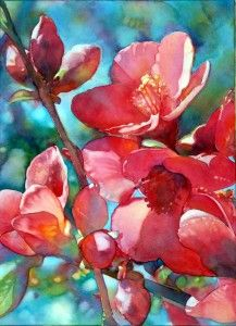 Jeannie Vodden Quince Blossoms 15 x 22 2009 watercolor Watercolour Painting, Watercolor Flowers, Painting & Drawing, Watercolours, Art Floral, Art Aquarelle, Posters Vintage, Botanical Art, Beautiful Paintings