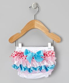 Tutus by Tutu AND Lulu Teal & Pink Polka Dot Ruffle Diaper Cover - Infant | zulily