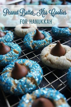 Hanukkah Peanut Butter Kiss cookies. A simple and delicious recipe for a Hanukkah party.