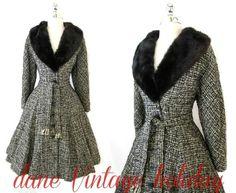 50s Vtg Tweed Mink Fur Princess Fit Flare Winter Dress Coat Party Jacket s M | eBay