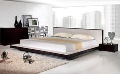 Modern Fabric Platform Bed furniture in Wenge - $870 -- Features: Fabric and wooden base #furniture #bedroom #LAfurniture #LAfurnitureStore #Furnituredesign #HomeDecor #bed #bedroom #bedroomdesign #platformbedroom #platformbed