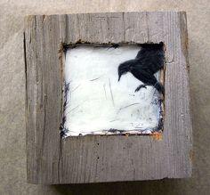Encaustic mixed media carved in reclaimed barn wood.