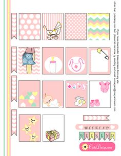 Free Printable Baby themed Stickers for Erin Condren in Pink Color