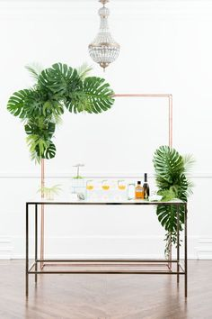 Having a greenery themed wedding? Check out this stunning greenery favors table set up. Palm Wedding, Botanical Wedding, Baby Shower Table Set Up, Wedding Mood Board, Sweetheart Table, Bridal Sets, Greenery, Backdrops, Party