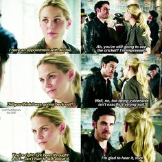"""""""You're still going to see the cricket? I'm impressed"""" - Killian and Emma #OnceUponATime (by captainswaninlove)"""