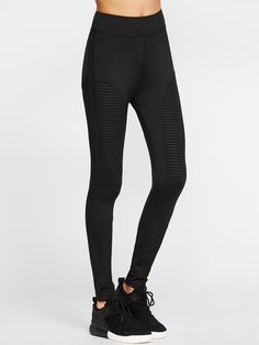 Shop Black Striped Mesh Insert Leggings online. SheIn offers Black Striped Mesh Insert Leggings & more to fit your fashionable needs.