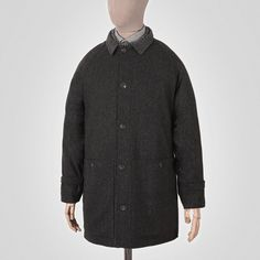 Charcoal grey herringbone wool mac Garments made with the makers of the British Isles British Isles, Herringbone, Chef Jackets, Charcoal, Mac, Shirt Dress, Wool, Grey, Mens Tops
