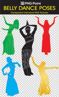 Silhouettes Images, Icons and Clip arts of Different poses and colors of Belly Dance with transparent background.