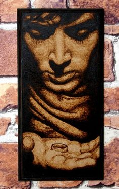 decorated with pyrography  | Frodo art - Lord of the Rings woodburned home decor