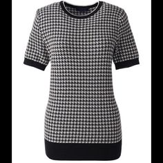 FASHION TRENDING HOUNDSTOOTH SWEATER FASHION TRENDING HOUNDSTOOTH SHORT SLEEVE SWEATER Lands' End Sweaters