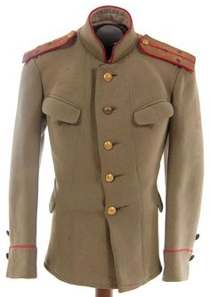 Model 1907 Imperial Russian WWI 2nd Lieutenant's tunic of 'Kittel'.   Olive wool with red piping on collar and cuffs, with brass doubled headed eagle buttons. Complete with gold bullion and red wool shoulder boards with rank insignia.