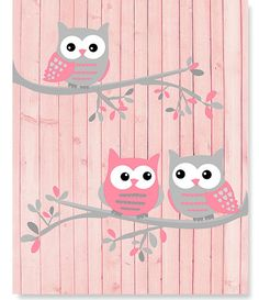 Owl Nursery Art Pink and Gray Owls Owls on Branches