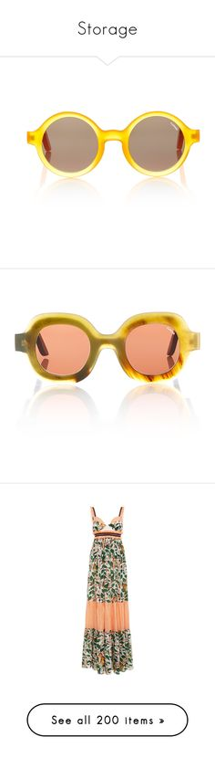 """""""Storage"""" by amberelb ❤ liked on Polyvore featuring accessories, eyewear, sunglasses, orange, round lens sunglasses, orange glasses, rounded glasses, round frame sunglasses, orange sunglasses and neutral"""