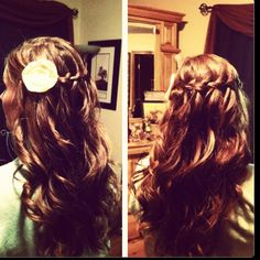 Our first attempt at the waterfall braid.. Want my hair to as long as this...