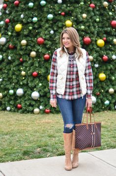 preppy holiday outfit - christmas plaid, j.crew excursion vest, tan heeled boots | www.bylaurenm.com