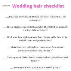 Wedding check list| wedding planner| guides for brides| to do list for brides Wedding Organiser, Wedding Planner Guide, Buy Dress, Your Hair, Wedding Hairstyles, Brides, Stylists, Check, Wedding Hair Styles