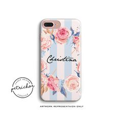 Floral Personalize Phone Case - iPhone 7 Case - iPhone 7 Plus Case - iPhone 6 Case - iPhone 8 Case - iPhone X Case - iPhone 8 Plus Case by PetrichorCases on Etsy Iphone 8 Plus, Iphone 7, Iphone Phone Cases, Personalized Phone Cases, Etsy, Handmade, Stuff To Buy, Design, Craft