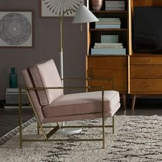 Brass and pink velvet armchair from Westelm | 10 Best Armchairs - Mad About The House