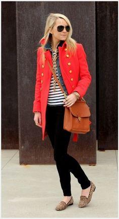 CAbi-ize Fall'12 Tavern Shirt, Spring'13 Striped Tee and poppy jacket, Fall'13 Ponte Legging