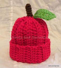 Swirls and Sprinkles: Easy crochet apple hat.