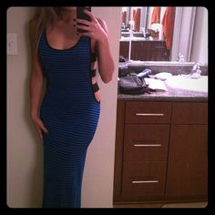 Blue & Black Stripe Maxi Dress W/ Side Cutouts