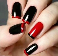 Black & red nails
